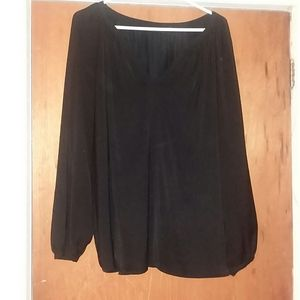 Black Silk Peasant Blouse